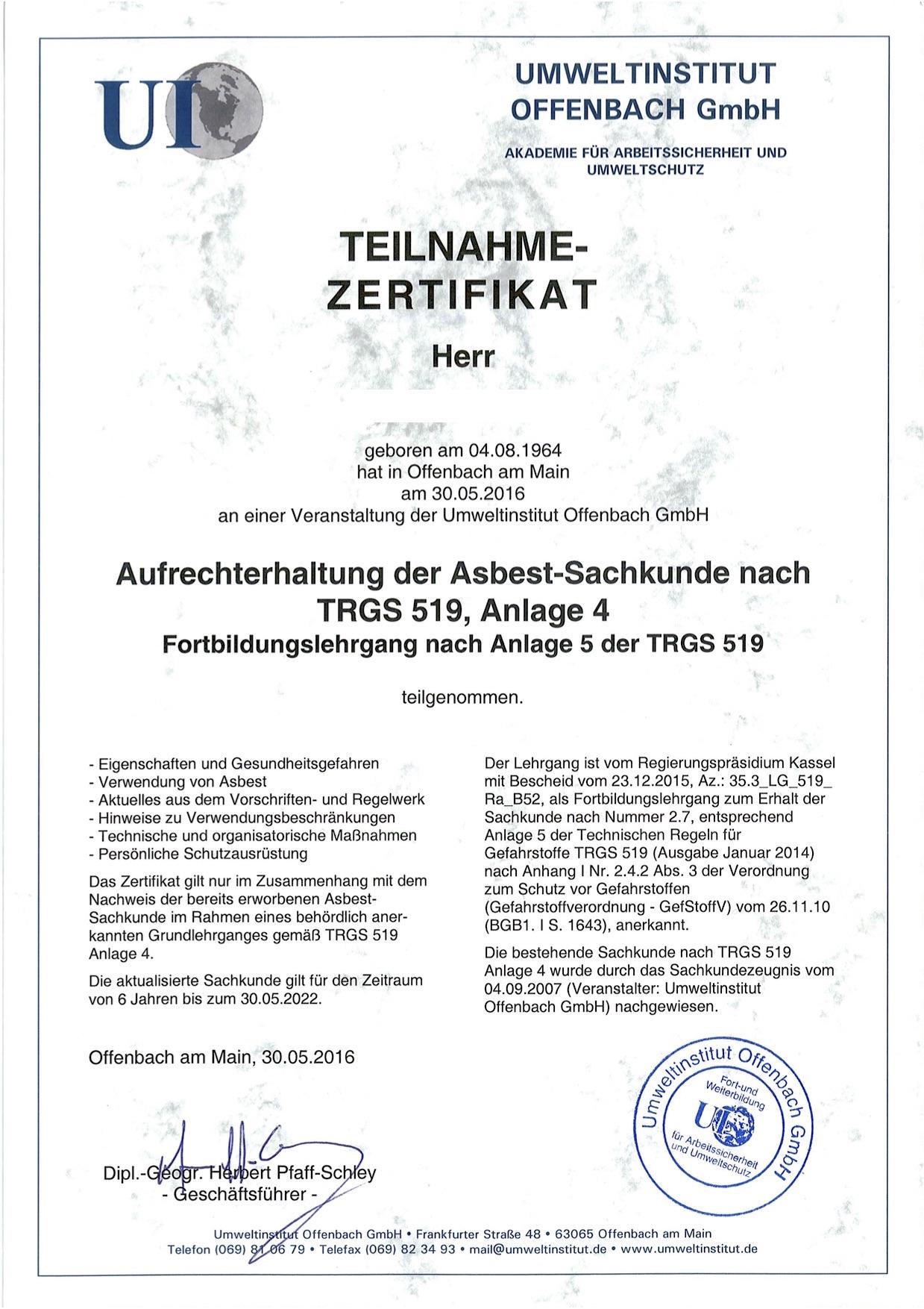 Asbest Zertifikat 2016 Jürgen Schmitt