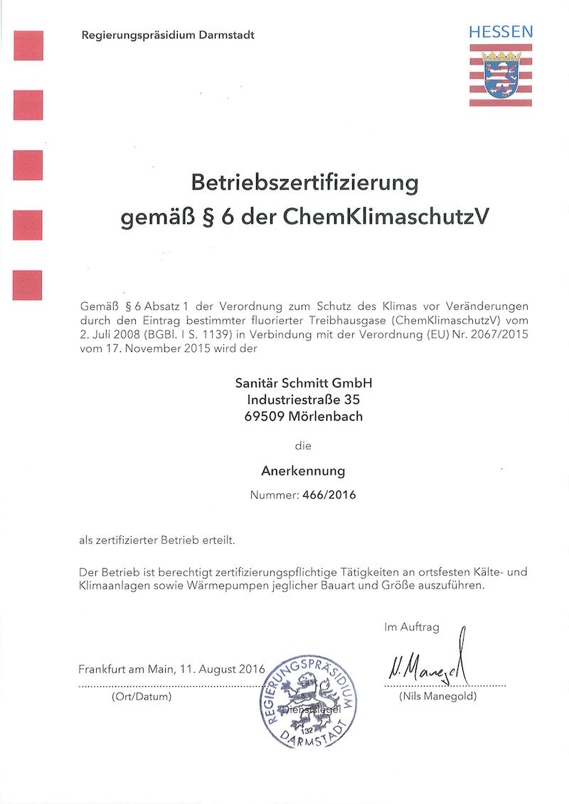 Betriebszertifierung gemäß chemischen Klimaschutz