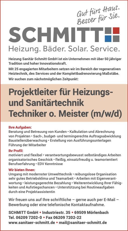 Projektleiter für Heizungs- und Sanitärtechnik Techniker oder Meister